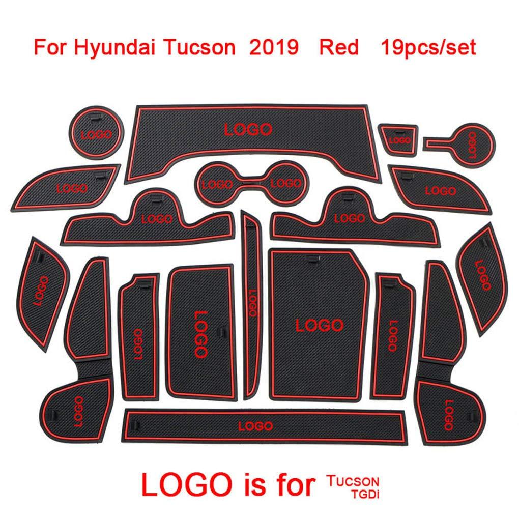 Flushzing 19pcs//set Car Non-Slip Door Groove Mats Cup Holder Pad Inner Decor Replacement For Hyundai Tucson 2019