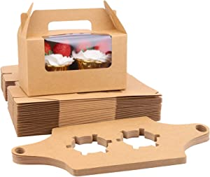 LEMEOSO Cupcake Boxes, 30pcs Brown Cupcake Carriers Kraft Paper Cupcake Containers 2 Holder with Handles Window & Inserts for Bakery Wrapping Packaging