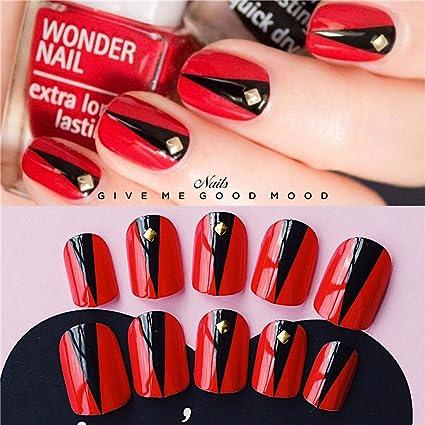 Jovono Brides - Clavos postizos para uñas (24 unidades), color rojo y negro. Pasa ...