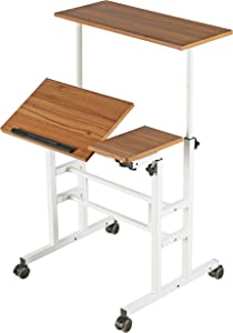 SDADI Height Adjustable Sit Stand Home Office Desk Mobile Standing Desk Rolling Laptop Cart Computer Workstation, Dark Grain
