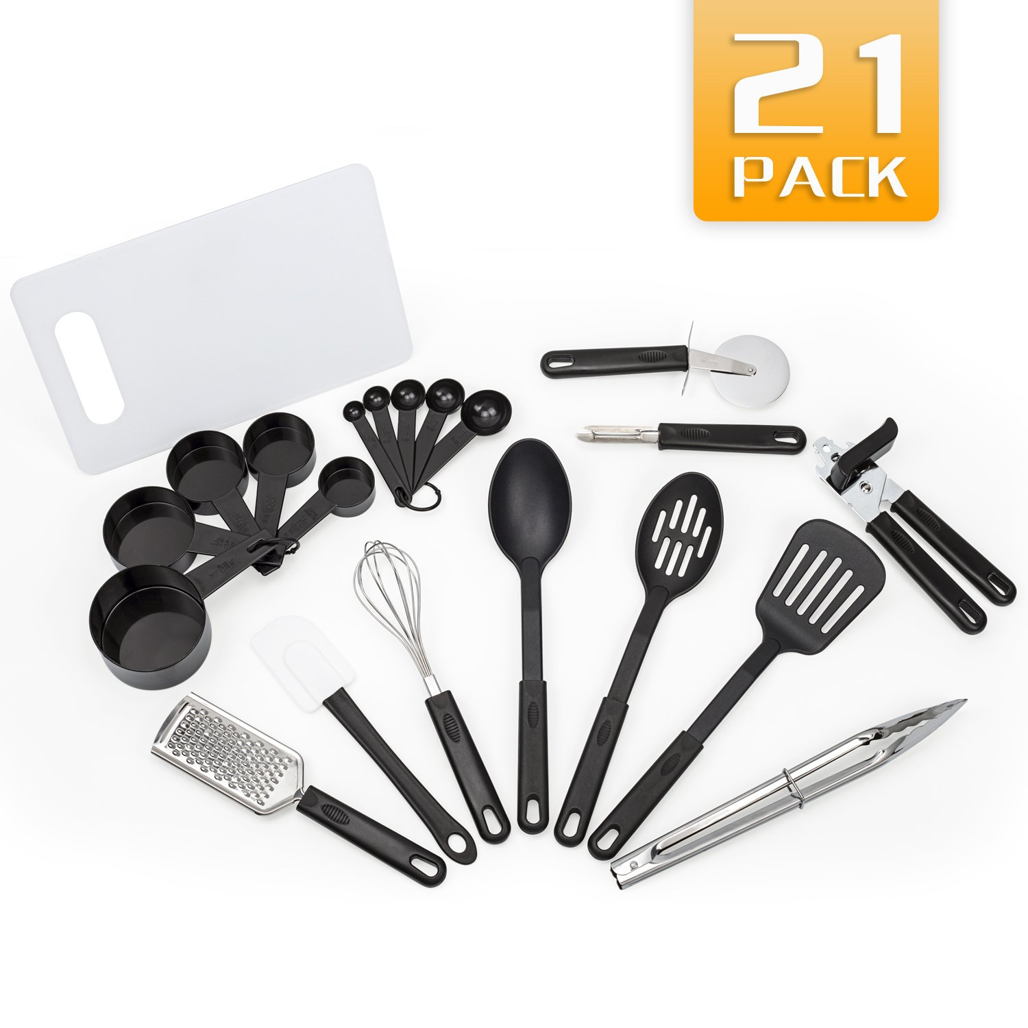 Kitchen Utensils 21 Nylon and Stainless Steel Cooking Utensils with Cutting Board - Nonstick Kitchen Utensil Set Cooking Tool - Dishwasher Safe