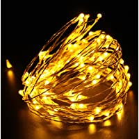 Quace Copper String Led Light 5M 50 LED Battery Operated Wire Decorative Fairy Lights Diwali Christmas Festival - Warm White