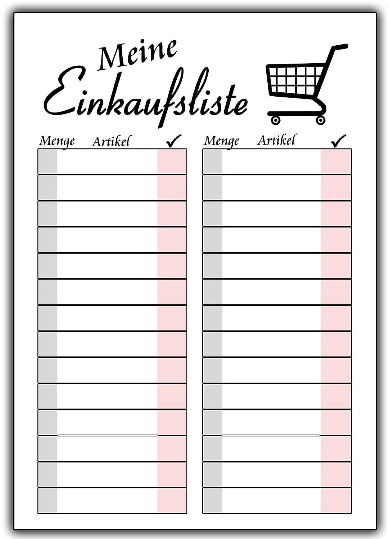 Einkaufsliste Einkaufszettel im SET 2 Stück als Block Notizblock für ...