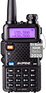 Tri-Band Radio Baofeng Radio Series Walkie Talkies VHF 1.25M UHF Amateur Handheld Ham Two Way Radios with Earpiece and Mic (Includes Dual Band Antenna, 220 Antenna) by LUITON