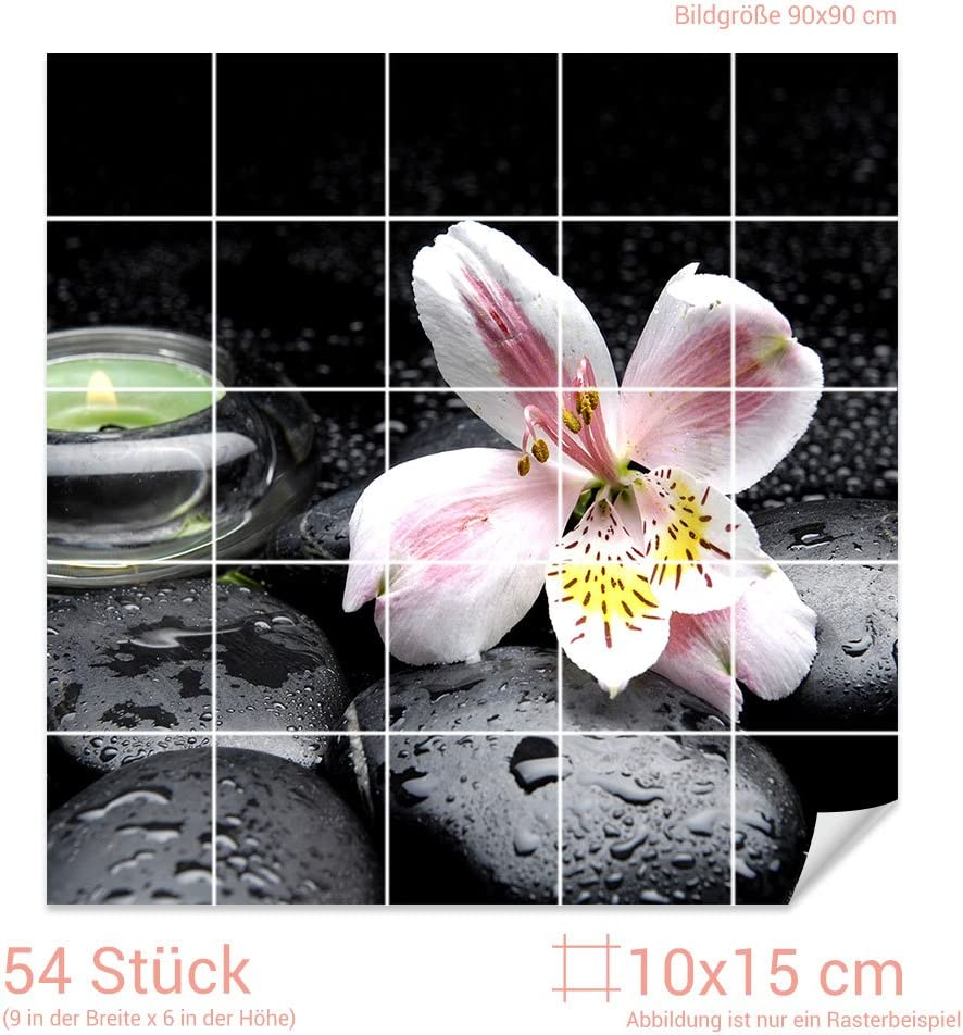 GRAZDesign Fliesenaufkleber Steine und Lilie Bad-Fliesen mit Fliesenbildern /überkleben BxH // Bild 110x110cm BxH Fliesenma/ß 10x10cm
