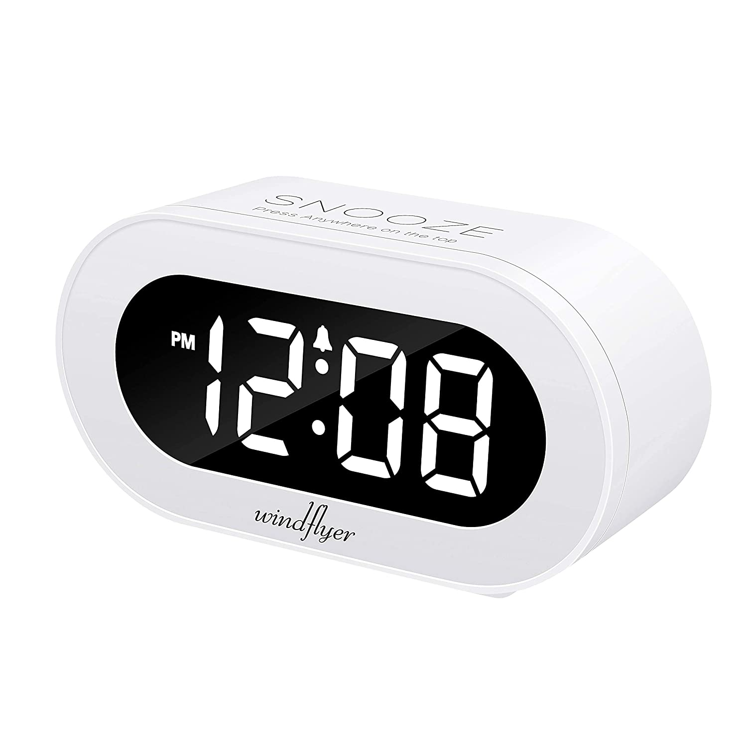 Windflyer Small LED Digital Alarm Clock Snooze, Simple to Operate, Full Range Brightness Dimmer, Adjustable Alarm Volume, Outlet Powered Compact Clock Bedrooms, Bedside, Desk, Shelf(White)