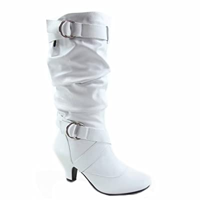Forever Link Maggie-39 Women's Fashion Low Heel Zipper Slouchy Mid-Calf Boots Shoes (6, White) | Mid-Calf