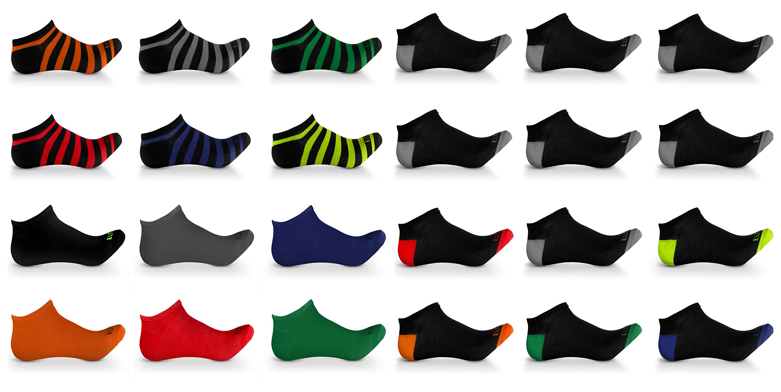 Men's Athletic Low Cut No show ankle Boat socks Ultimate Fashion Everyday Casual Athletic Pack of 24 Assorted pairs