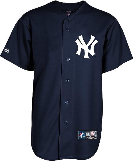 Camisa Majestic de béisbol MLB de los Yankees de Nueva York, color azul, azul marino: Amazon.es: Deportes y aire libre