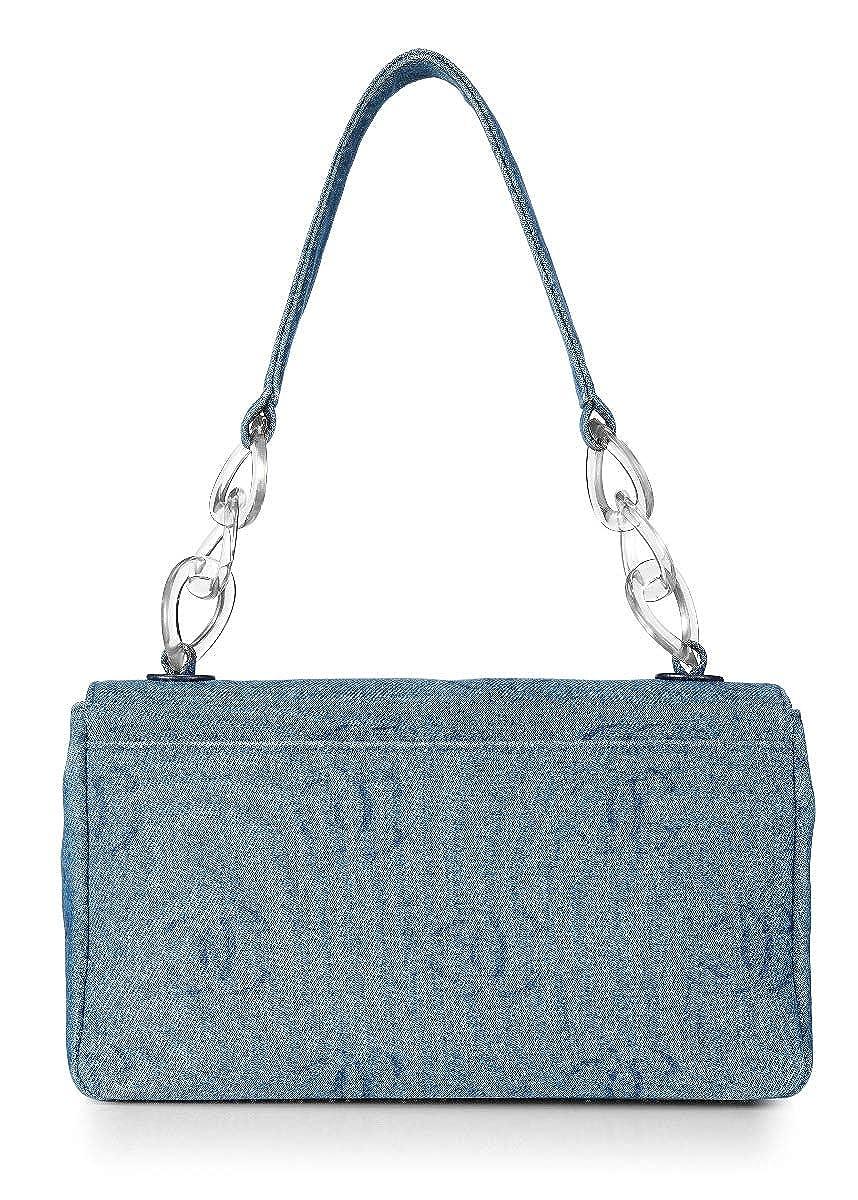 eebdd28cb434 CHANEL Blue Denim Logo Flap Bag (Pre-Owned): Handbags: Amazon.com
