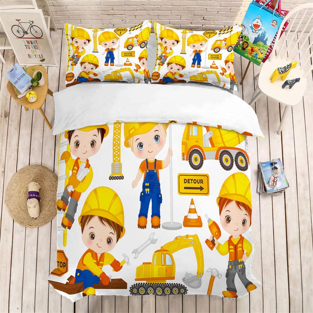 Duvet Cover + 2 Pillowcases Twin Full Bed Duvet Cover 3 Piece Set Bedding D,Twin-172x218cm Duvet Cover and Pillowcase Cartoon Toy car Airplane Excavator Child Duvet Cover Bedding Set