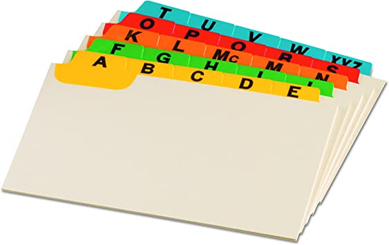 2 Pack of 25 Guides per Set 3514 Alphabetical Assorted Colors 3 x 5 Size A-Z Oxford Index Card Guides with Laminated Tabs