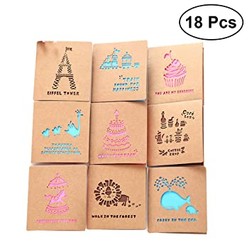 Buy 18pcs 9 Styles Of 2 Same Greeting Cards Handmade New Year Envelope Set Out Creative Retro Love Birthday Gift Online At Low Prices