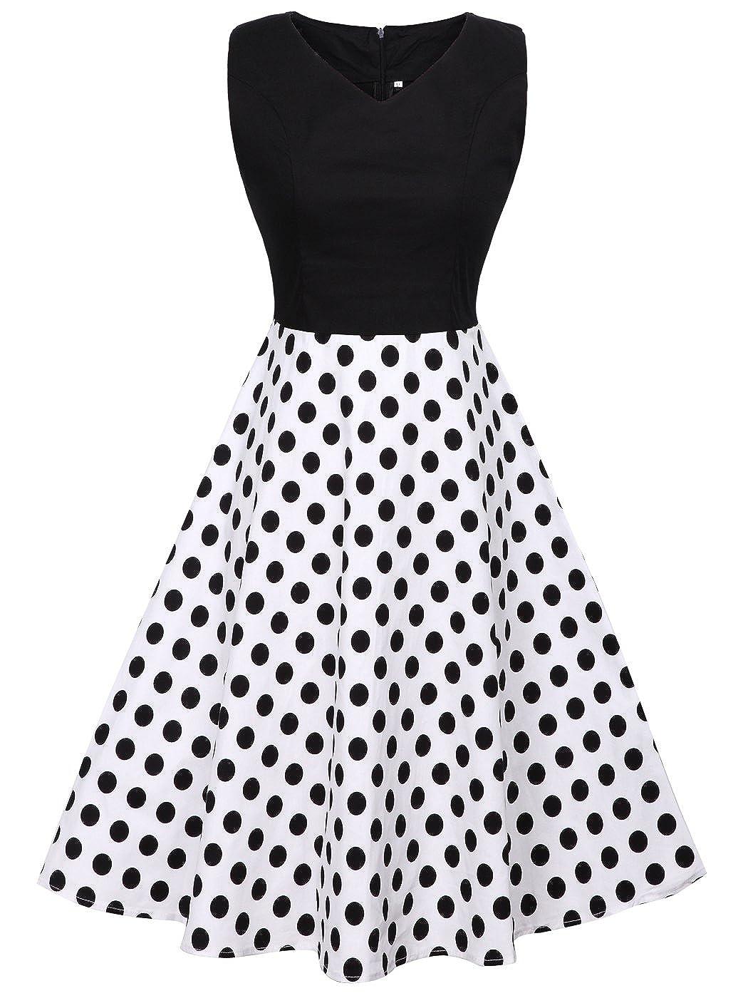 FAIRY COUPLE 1950S Vintage Rockabilly Lunares Vestido de Baile DRT072(3XL, Negro+Blanco Negro Puntos): Amazon.es: Ropa y accesorios