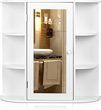 Homfa Bathroom Wall Cabinet Multipurpose Kitchen Medicine Storage Organizer With Mirror Single Door Shelves White Finish