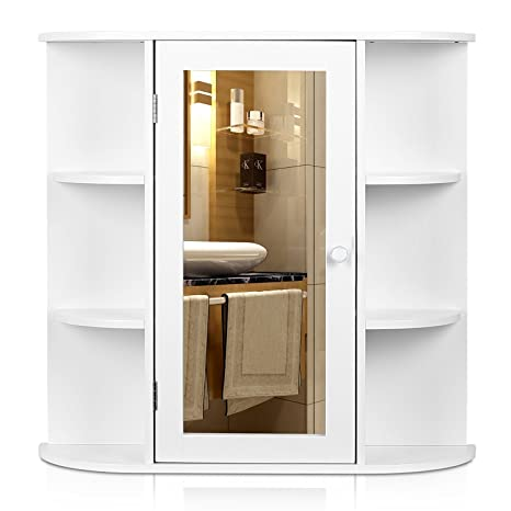 Homfa Bathroom Wall Cabinet Multipurpose Kitchen Medicine Storage Organizer With Mirror Single Door Shelves White Finish