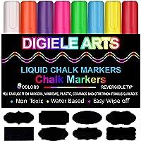 Rotuladores de Tiza Líquida, DIGIELE 8 Llamativos Colores con 32 Etiquetas Reusables, Punta Reversibles 6mm, Borrado en…