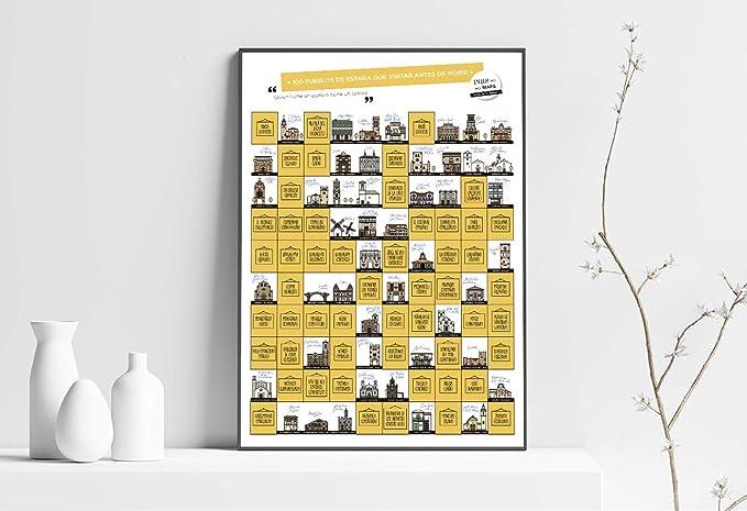 100 PUEBLOS DE ESPAÑA QUE VISITAR ANTES DE MORIR. Papel estucado, Multicolor, 65 x 45 cm: Amazon.es: Oficina y papelería