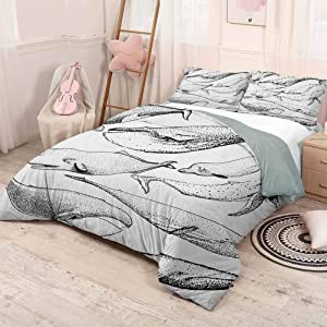 HELLOLEON (Twin) Whale Pure Bedding Hotel Luxury Bed Linen Hand Drawn Black and White Whales from Single Type Small and Big Artistic Image Polyester - Soft and Breathable Black and White