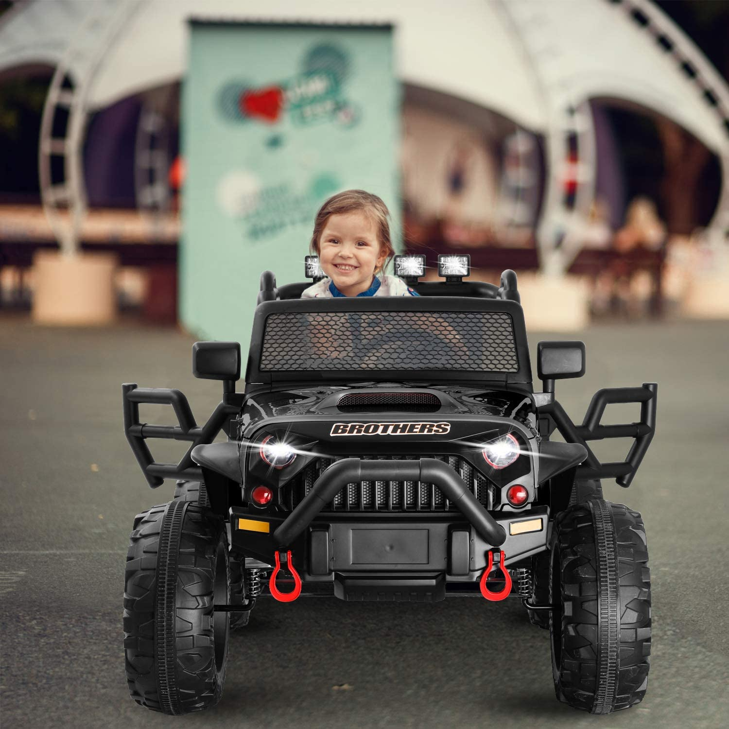 HOMFY Kids Ride on Truck Toy 12V Electric Vehicles Motorized Toddler Realistic Off-Road UTV Car with 2.4G Parental Remote Control MP3//Bluetooth Player LED Light Black