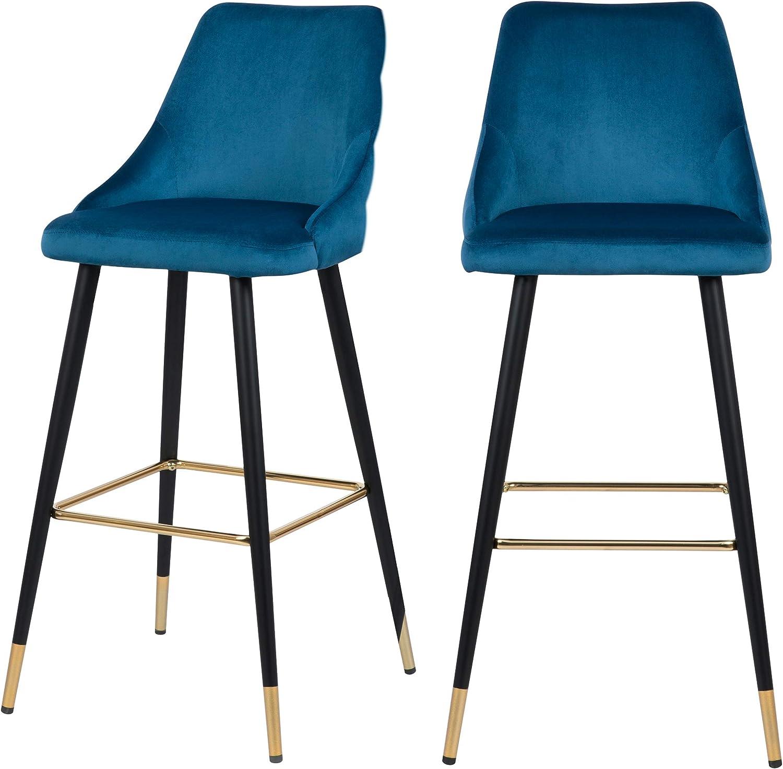 Rendez vous déco Chaise de Bar Aristote en Velours Bleu 77.5