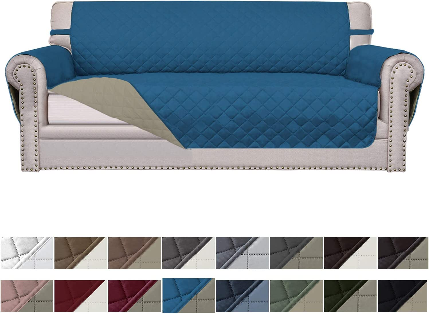 Easy-Going Sofa Slipcover Reversible Sofa Cover Water Resistant Couch Cover Furniture Protector with Elastic Straps for Pets Kids Children Dog Cat(Oversized Sofa,PeacockBlue/Beige)