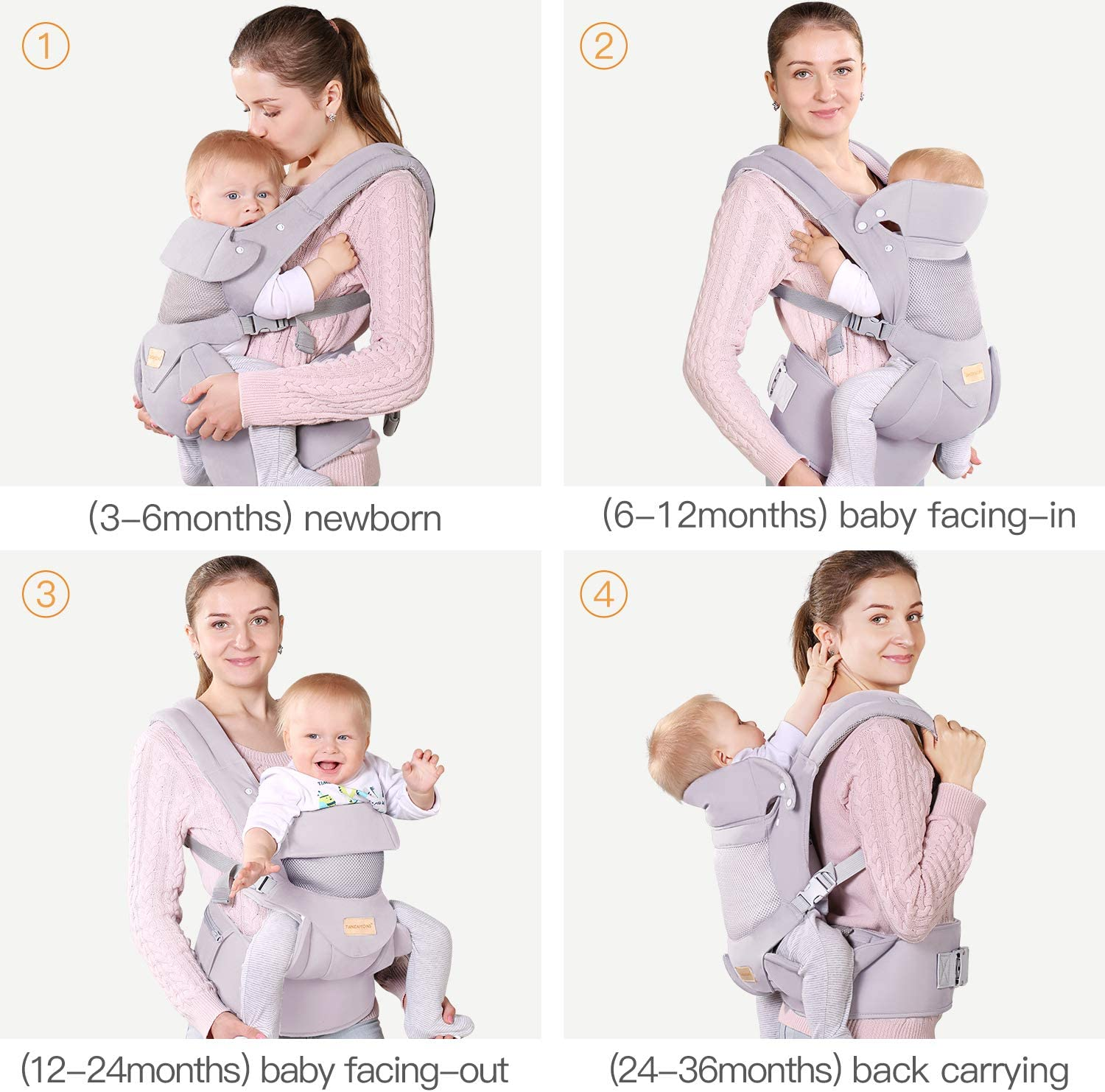 Black Hip Seat /& Hood Soft /& Breathable Cotton Cool Air Mesh Infant Toddler Baby Carrier Wrap Backpack Front and Back