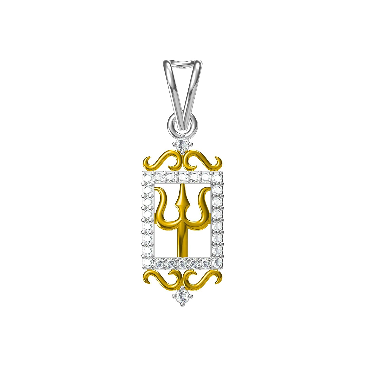 Suhana Jewellery Simulated Diamond Studded Fashion Pendant Necklace in 14K Yellow Gold Plated With Box Chain