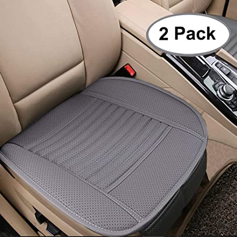 67cfcb56c27b4 Big Ant Breathable 2pc Car Interior Seat Covers Cushion Pad Mat for Auto  Supplies Office Chair with PU Leather(Grey)