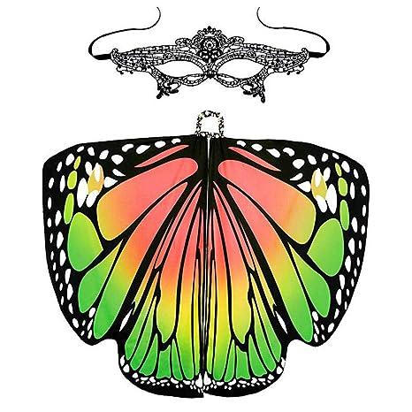 Xmiral Mujeres 2Pcs Estampado Mariposa Alas Chal con Mascara de Ojos para Danza Disfraz Carnaval Fiesta
