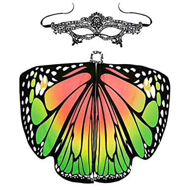 UK Ladies Soft Fabric Butterfly Wings Shawl Fairy Nymph Pixie Costume Accessory