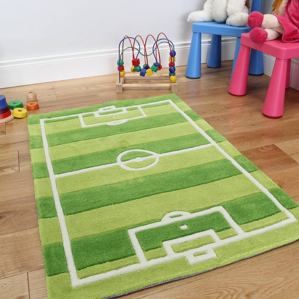 Boy's Green Durable Football Soccer Pitch Kid's Fun Rug 70 x 100cm The Rug House