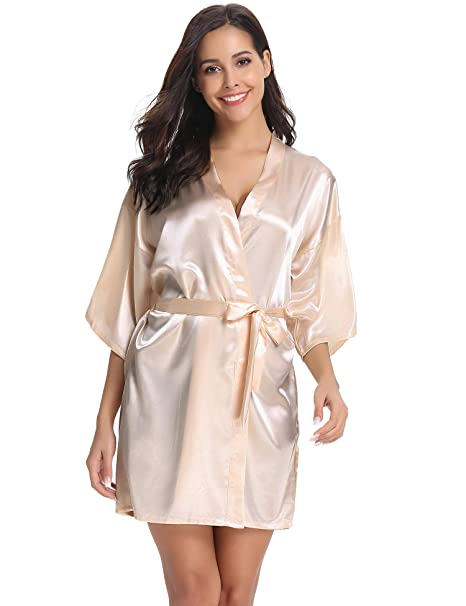 199d52fcab Vlazom Women Kimono Robes Satin Dressing Gown Short Silk Bridal Bridesmaid  Robe Nightwear with Oblique