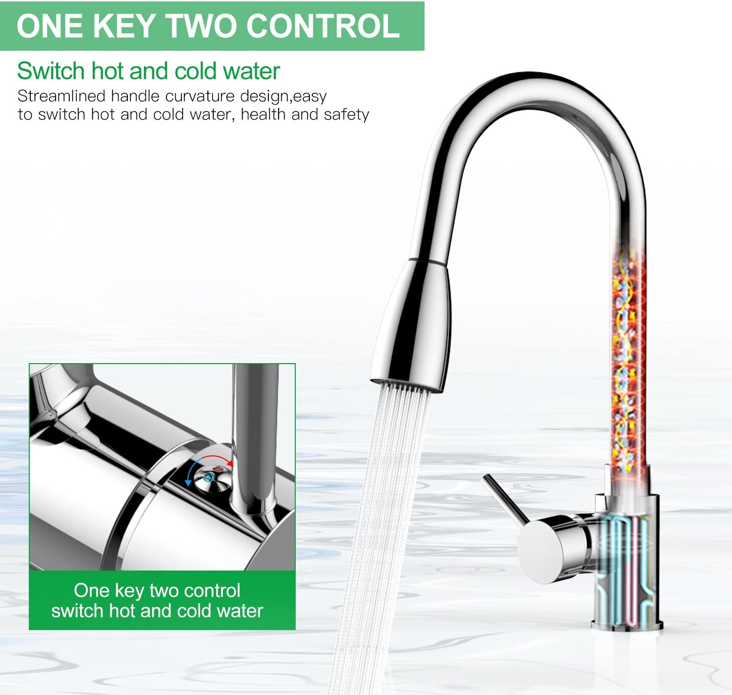 Dual-Mode with Pause Water Outlet Key Chrome. Kitchen Pull Down Faucet Spray Head Replacement Part for Kitchen Sink Faucet