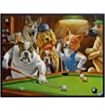 Hustler Dogs Playing Pool - Unframed Wall Art Print - Great Home Decor for Game Room or Man Cave - Awesome Gift For…