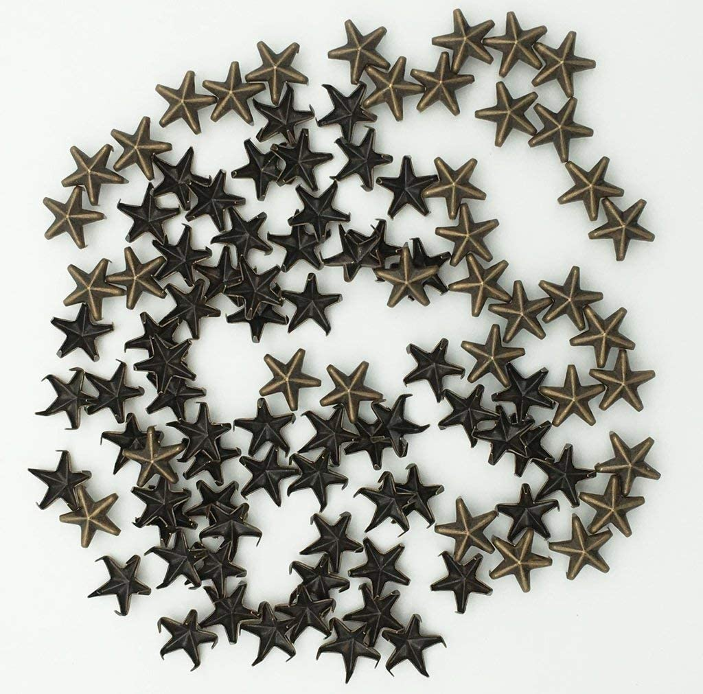 Ecloud ShopUS 3 pieces 100 Bronze 10mm Leathercraft DIY Star Studs Spots Spikes Rivets Punk