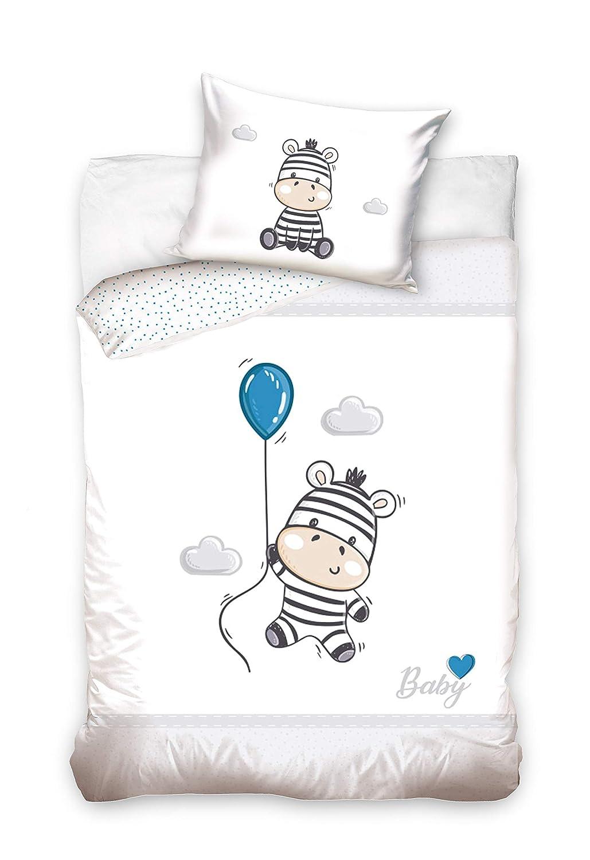 Elefant Luftballon Blau 100/% Baumwolle Gr/ö/ße: 100x135 cm 40x60 cm Baby Bettw/äsche Set 2tlg