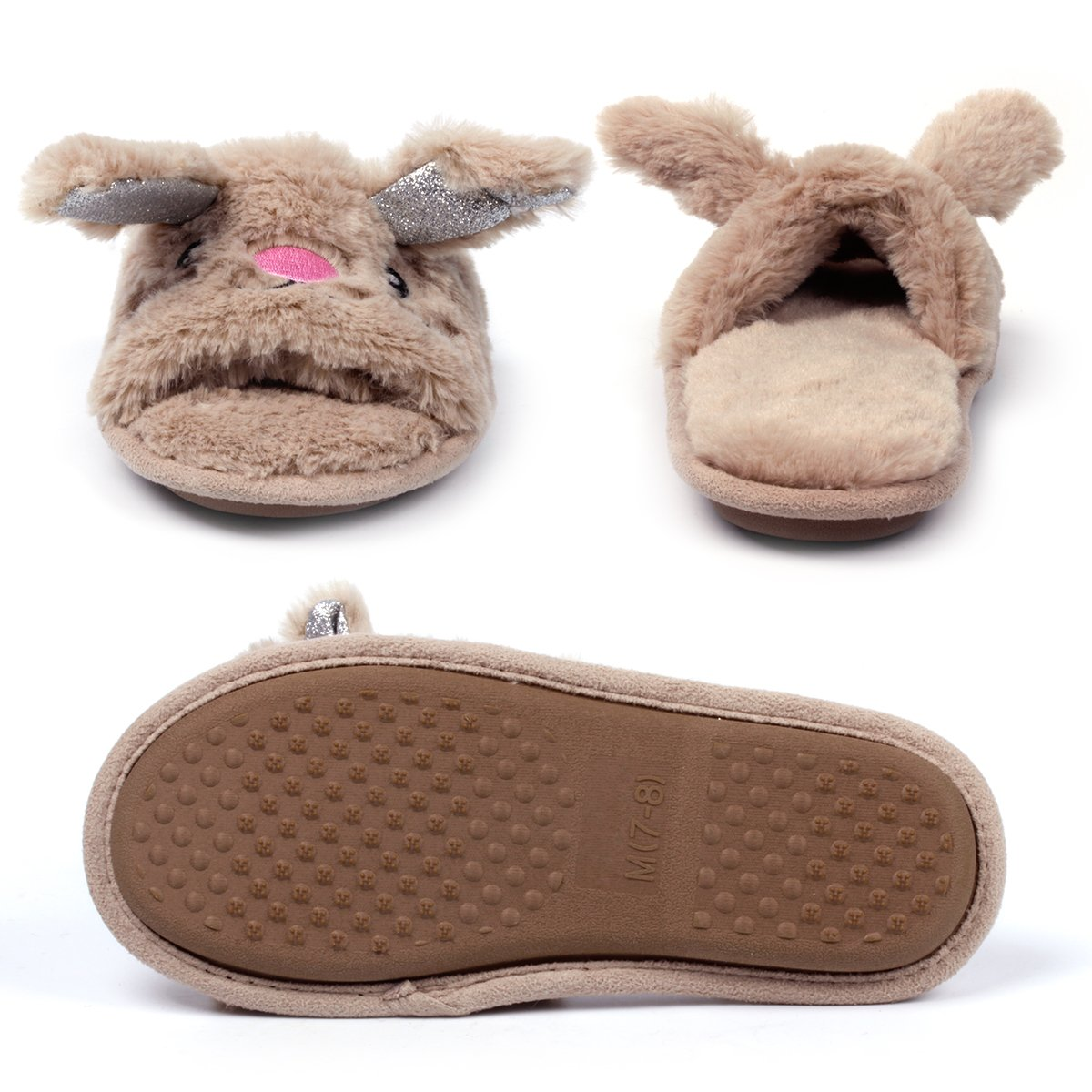 Womens Open Toe Slippers | Cute Bunny Unicorn Animal Slipper | Soft Fleece Memory Foam Clog | Anti-Slip Sole Indoor Outdoor Shoes | Flip Flop Spa Slippers (9-10, BrownBunny) by Caramella Bubble (Image #10)
