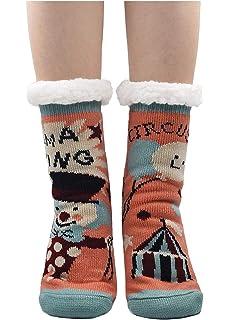 Mogao Caves Pantuflas Mujer Gruesos Calcetines de piso casa abrigados Invierno Térmico Calcetines, calcetines de
