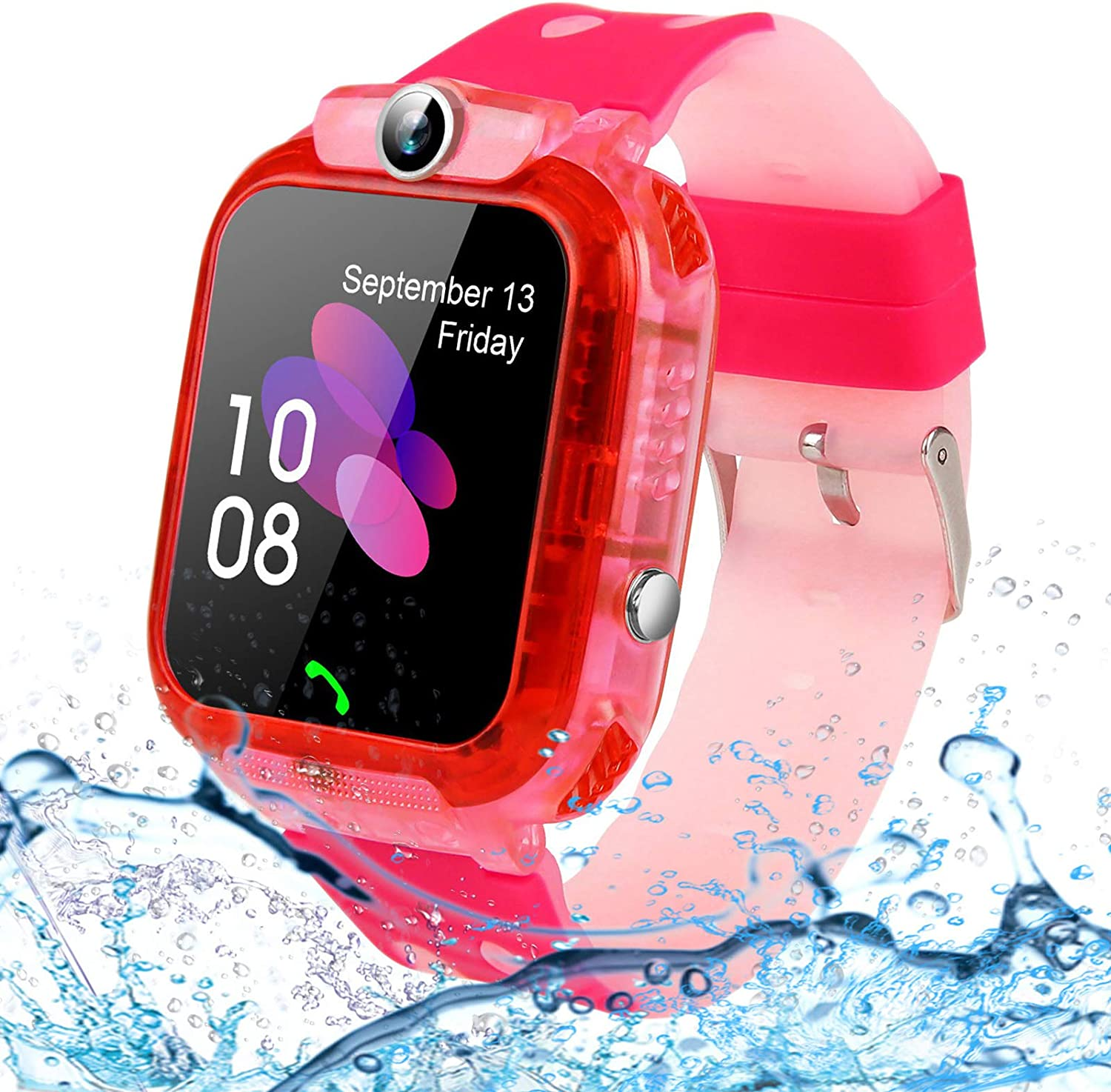 Kids Smartwatches, SZBXD Waterproof LBS/GPS Tracker Phone SOS Touchscreen Smartwatch Games Clock Smart Watch Christmas Birthday Gifts for School Boy Girls (Pink)