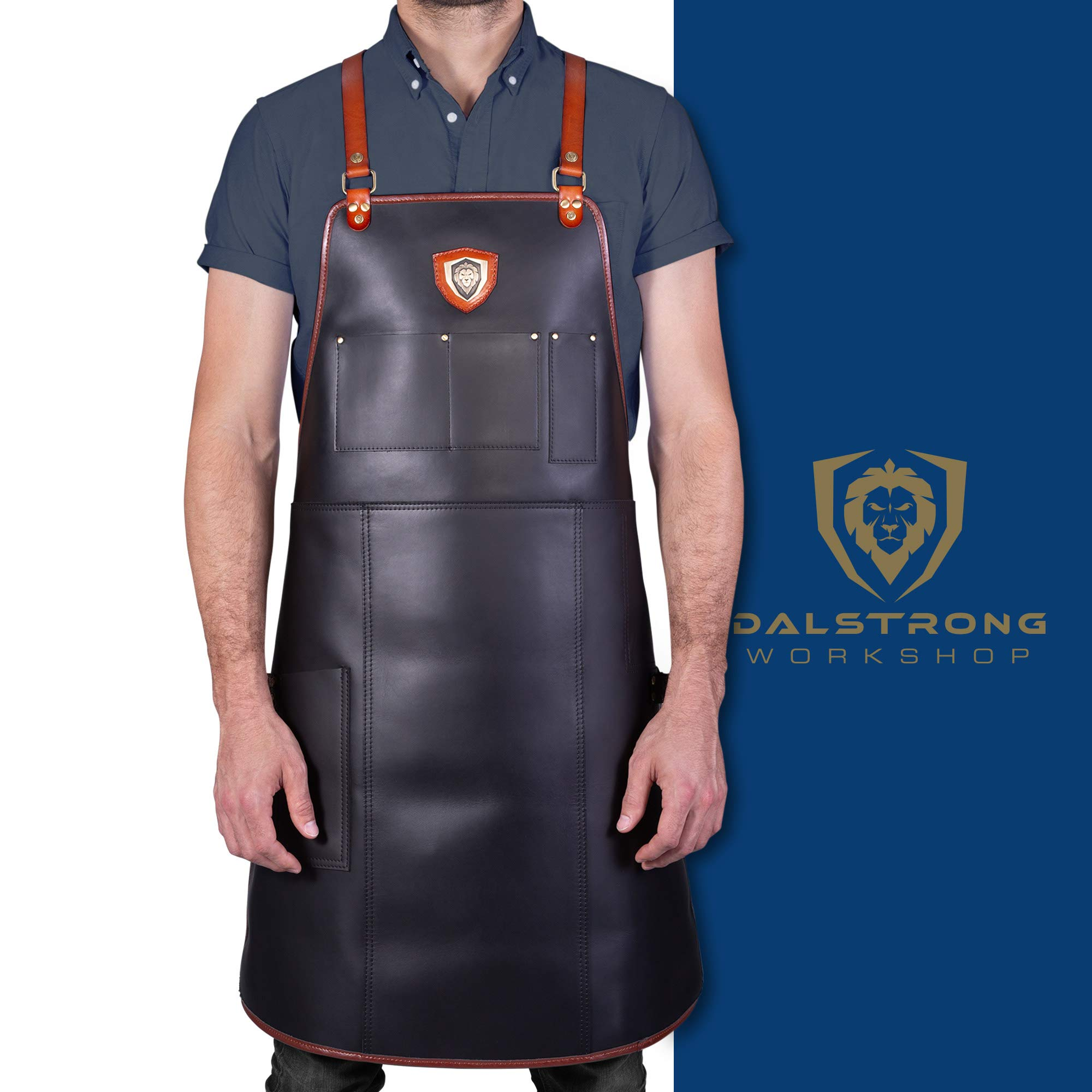 Dalstrong Professional Chef's Kitchen Apron - The Culinary Commander Top-Grain Leather - 5 Storage Pockets + Towel & Tong Loop - Fully Adjustable Harness Straps - Heavy Duty