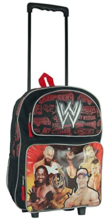 Amazon.com | Black and Red WWE Rolling Backpack - Boys Luggage ...