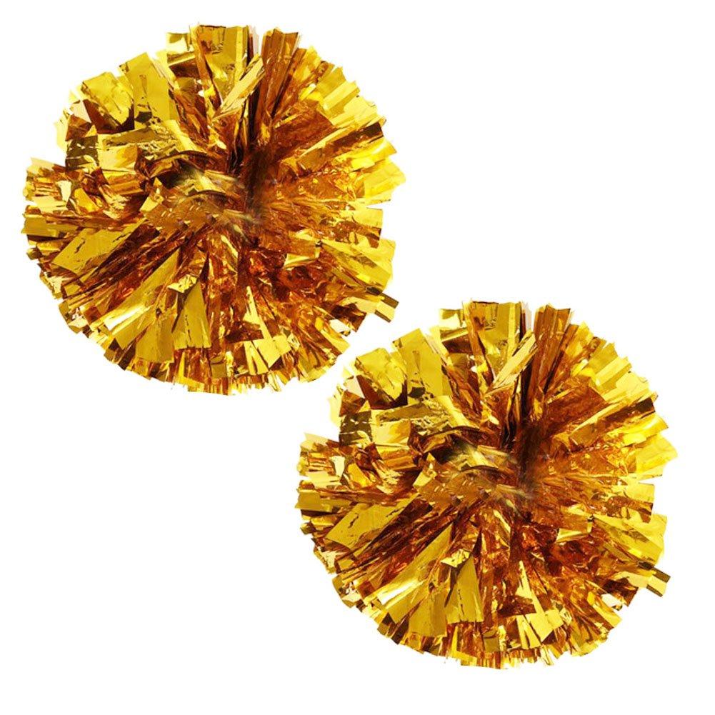 1 Pair Team Sports Cheerleading Poms Match Pom Plastic Ring Pompoms Gold FANCY PUMPKIN