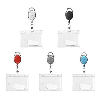 Identificador con cordón extensible para tarjetas de identificación blanco: Amazon.es: Oficina y papelería