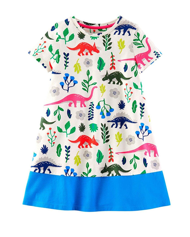 Lyxinpf Little Girls Summer Short Sleeve Dresses Kids Cotton Stripe T-Shirt Casual Cartoon Dress for Toddler 2-Dinosaur 5