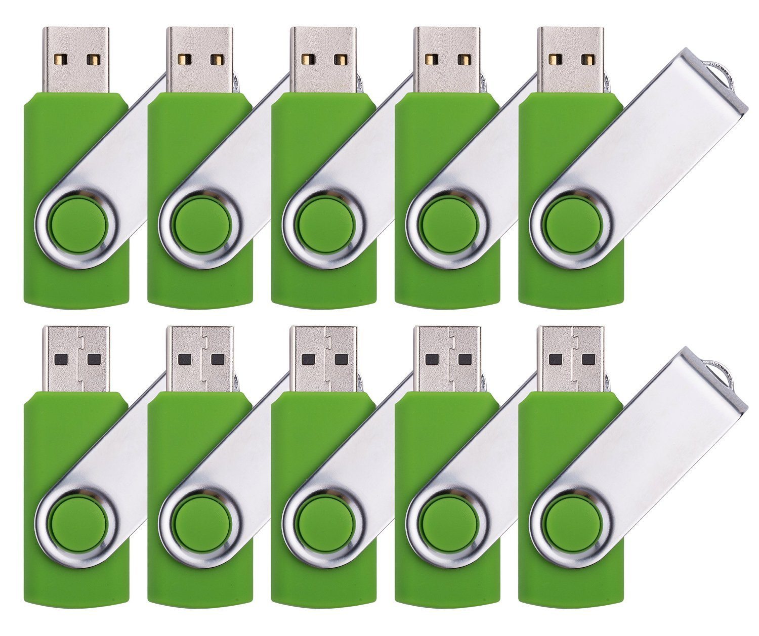 DDC 50pcs 1GB USB 2.0 Flash Drive Memory Stick Fold Storage Thumb Stick Pen Swivel Design Green