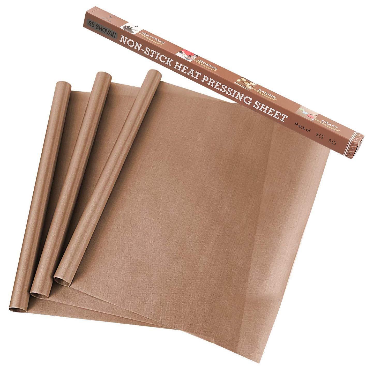 "SS SHOVAN 3 PCS Teflon Sheets for Heat Press, PTFE Transfers Sheet 16"" x 20"" Non Stick Heat Resistant Waterproof Reusable Baking Sheet Craft Mat"