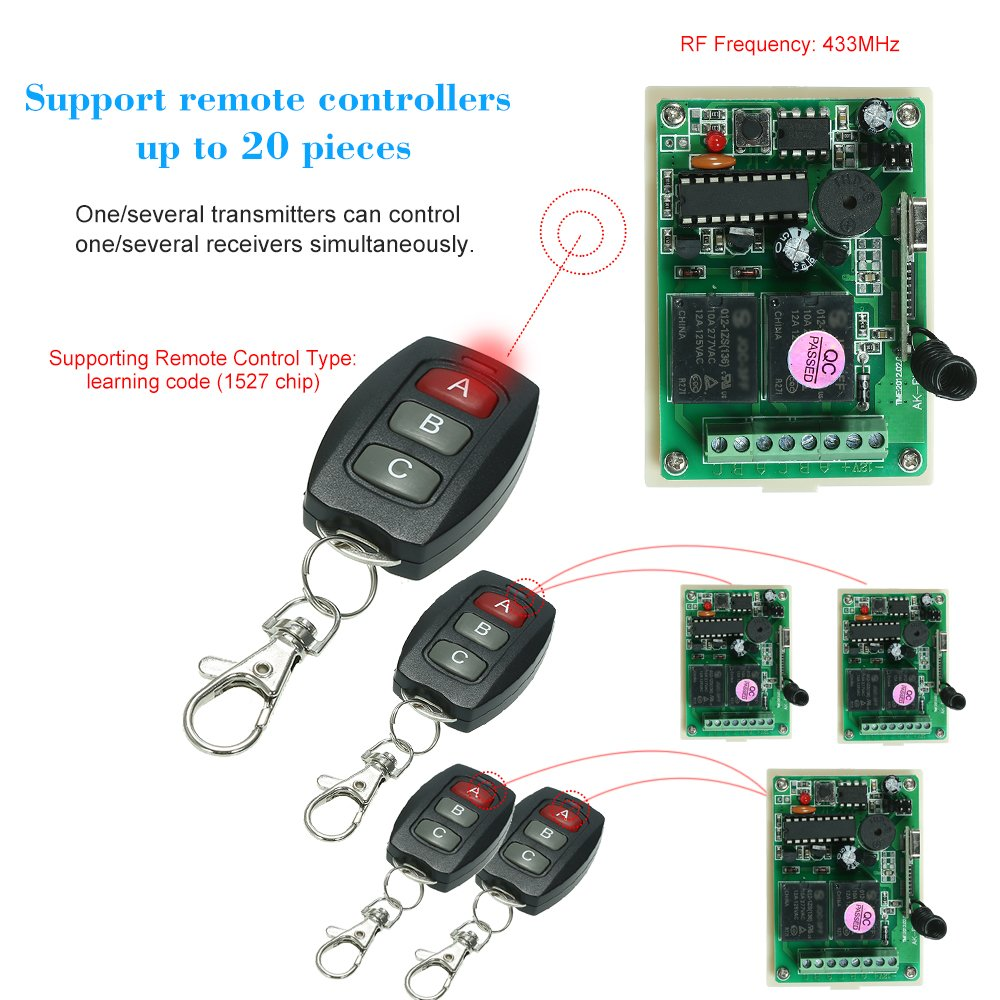 KKmoon 433Mhz DC 12V 2CH Universal 10A Relay Wireless Remote Control Switch Receiver Module and 5PCS 3 Key RF 433 Mhz Transmitter Remote Controls 1527 Chip Smart Home Automation by KKmoon (Image #4)