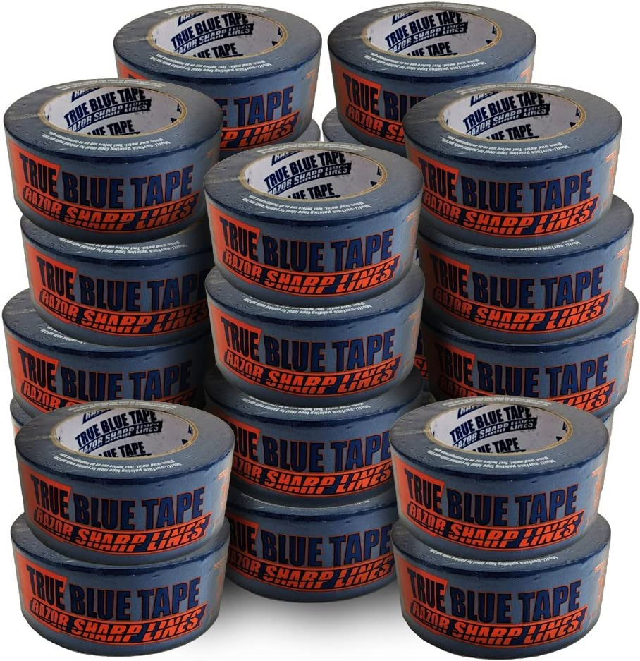 True Blue Premium Blue Professional Painter's Masking Tape – Indoor and Outdoor Use – Commercial Grade - Available in 2 Widths – Works on a Variety of Surfaces (2 Inch, 24-Pack)