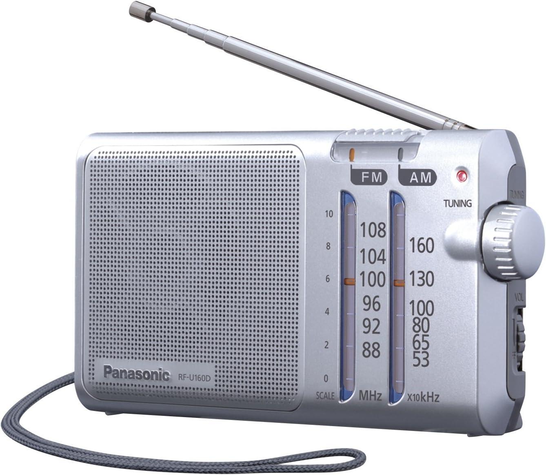 Panasonic RF-U160DEG-S - Radio portátil (Compacta, Con Sintonizador Digital, 370mW, FM/AM, LED/Digital, AFC, DC-IN,Puntero Fosforescente, Diseño Fácil, Con Correa Para Transportar)- Color Plata: Amazon.es: Electrónica